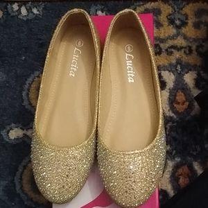 NWOT Gold Flats Shoes